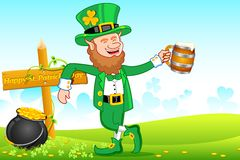 Leprechaun with Beer Mug stock illustration