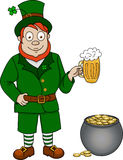 Leprechaun with beer and pot of coins Royalty Free Stock Photography