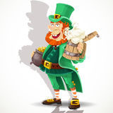 Leprechaun with beer and pot of gold Stock Photos