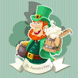 Leprechaun with beer and pot of gold  - Poster Royalty Free Stock Photography