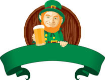 Leprechaun with beer Stock Images