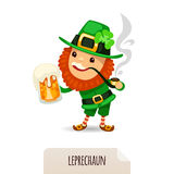 Leprechaun with beer smokes a pipe Royalty Free Stock Image