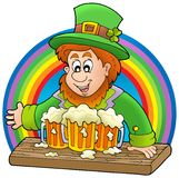 Leprechaun with beers and rainbow Royalty Free Stock Photo
