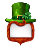 Leprechaun Blank Sign. Banner with a green shamrock lucky top hat and orange red hair as a St Patricks day symbol and luck icon of Irish tradition celebration Royalty Free Stock Images