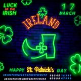 Leprechaun boots saint patricks day neon label. Theme St. Patrick`s Day. A clover leaf on a dark background with a neon light royalty free stock photography