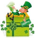 Leprechaun with box Stock Photography