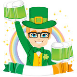 Leprechaun Boy Holding Green Beer Royalty Free Stock Photo