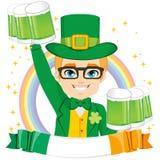 Leprechaun Boy Holding Green Beer Royalty Free Stock Photo