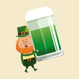 Leprechaun carrying mug green beer Stock Image