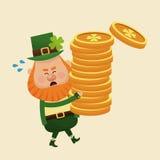 Leprechaun carrying pile coins gold Stock Photography