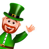 Leprechaun cartoon character peeking. Saint Patricks Day Card. Stock Photo