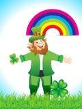 Leprechaun Cartoon With Clove Stock Photography