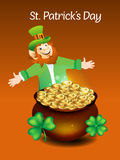Leprechaun Cartoon With Money Coin Royalty Free Stock Photos