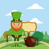 Leprechaun with cauldron board and landscape Royalty Free Stock Photo