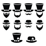 Leprechaun character for St Patrick's Day in Ireland - black icons set Stock Image