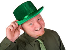 Leprechaun: Cheerful Irish Man In Green. Short series of an Irish man in green for St. Patrick's Day Royalty Free Stock Photo