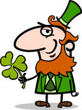 Leprechaun with clover cartoon illustration Stock Photos
