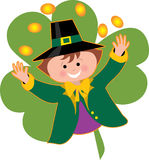 Leprechaun and Coins. Leprechaun tossing coins over his head on a shamrock background Stock Photo