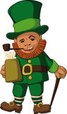 Leprechaun color. Leprechaun with  mug of foamy beer in hat with walking stick and tube Stock Photos