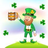 Leprechaun com caneca de cerveja ilustração do vetor