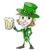 Leprechaun con la cerveza stock de ilustración