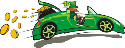 Leprechaun, convertible and a treasure Royalty Free Stock Photography