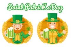 Leprechaun Cute Gnome Girl Saint Patrick Day Celebration Clover Success and Prosperity Symbol Mug of Beer with Foam Icon stock illustration