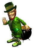 Leprechaun in defense. 3d rendering of the Irish myth leprechaun with his pot of gold on the defensive as illustration Royalty Free Stock Images