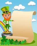 Leprechaun di giorno di Patricks che presenta vecchia pergamena Immagini Stock Libere da Diritti
