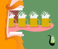 Leprechaun drinking beer. Scary Gnome reddish beard and mug of a Stock Photos