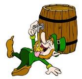 Leprechaun Drinking. Hand drawn cartoon of a little leprechaun enjoying a drink from the tap Royalty Free Stock Photography