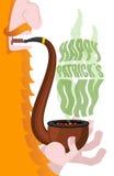 Leprechaun dymi drymbę Patricks dzień Dymić ustalonego brier i Smoka Obrazy Stock