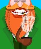 Leprechaun dymi drymbę Szczęśliwy Patricks dzień Dymiący ustalonego brier royalty ilustracja