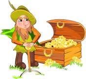 Leprechaun e un petto di oro Immagini Stock Libere da Diritti
