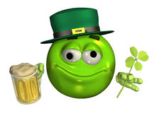 Leprechaun Emoticon with Beer - with clipping path Royalty Free Stock Image