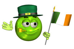 Leprechaun Emoticon with Irish Flag - with clipping path Royalty Free Stock Photo