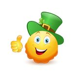 Leprechaun emoticon with thumb up Stock Photos
