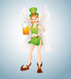 Leprechaun Fairy with Beer. St. Patrick's Day Cartoon Bold Fairy Leprechaun Girl with Beer Vector Illustration Stock Images