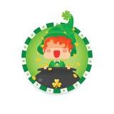 Leprechaun felice di giorno del ` s di St Patrick con il vaso di oro Fotografie Stock