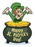 Leprechaun feliz no potenciômetro de ouro Fotografia de Stock Royalty Free