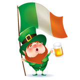 Leprechaun with flag and beer Royalty Free Stock Photography