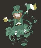 Leprechaun with flag holding a mug of beer in the Royalty Free Stock Photography