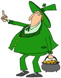 Leprechaun flipping the bird Stock Images