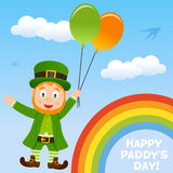Leprechaun Flying in the Sky with Balloons Stock Images