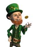 Leprechaun fortunato che lancia una moneta Fotografia Stock Libera da Diritti