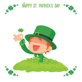 Leprechaun Found a Four-Leaf Clover for St. Patrick's Day Card Stock Images