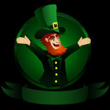 Leprechaun. Friendly leprechaun on a black background Royalty Free Stock Image