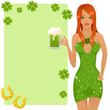 Leprechaun girl. Cute redhead leprechaun girl holding a glass of beer. With a place for your text Royalty Free Stock Photo