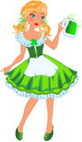 Leprechaun girl with beer Stock Photos