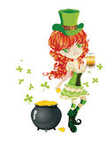 Leprechaun Girl with Beer Stock Images